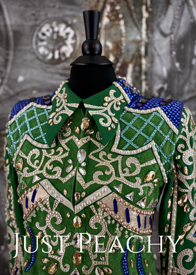 Green, Blue and Pearl Youth Horse Show Outfit ~ Just Peachy Show Clothing