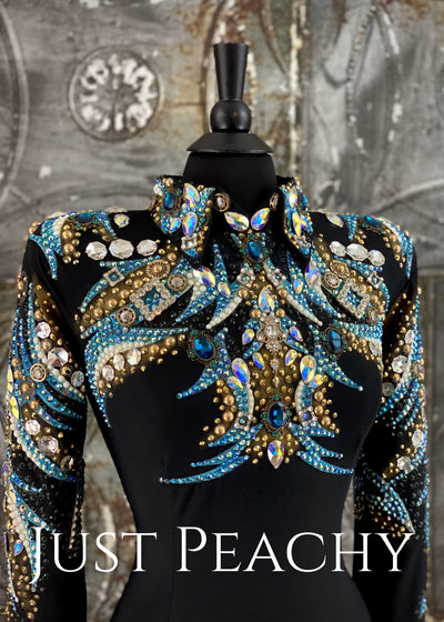 Turquoise, Gold and Black Horsemanship Shirt by Trudy ~ Just Peachy