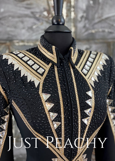 Crystal Gold And Black All-Day Jacket By Jackson Rae Designs ~ Ladies Small Western Horse Show