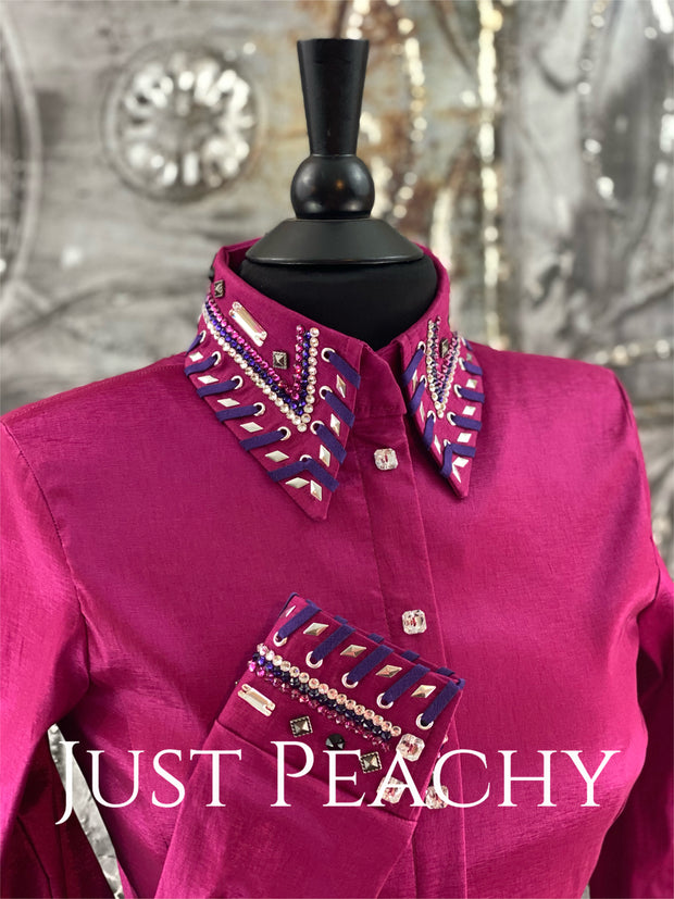 The Cosmopolitan Dress Shirt in Magenta with Purple ~ Ladies Small