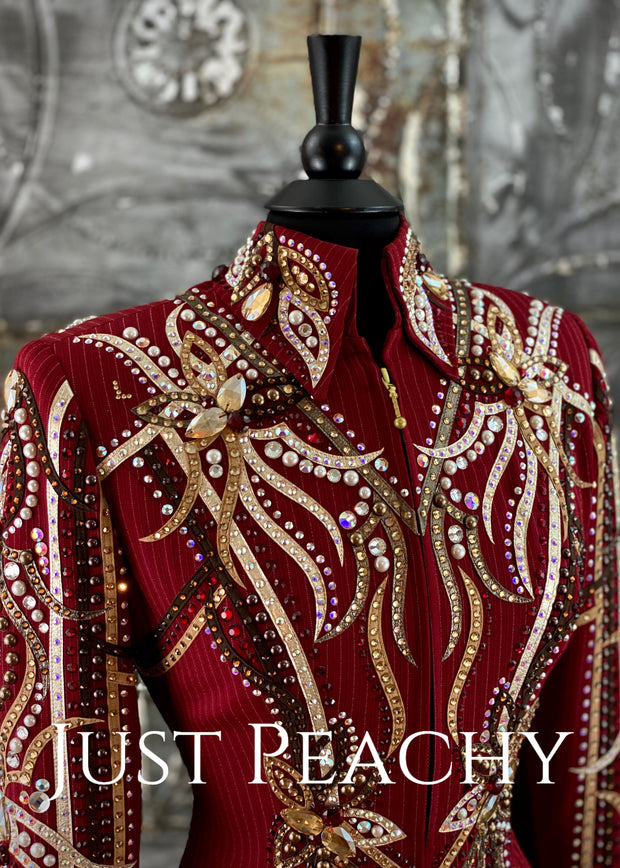 Cranberry and Earthtone Pinstripe Showmanship Outfit by Dry Creek Designs ~ Ladies Small/Medium