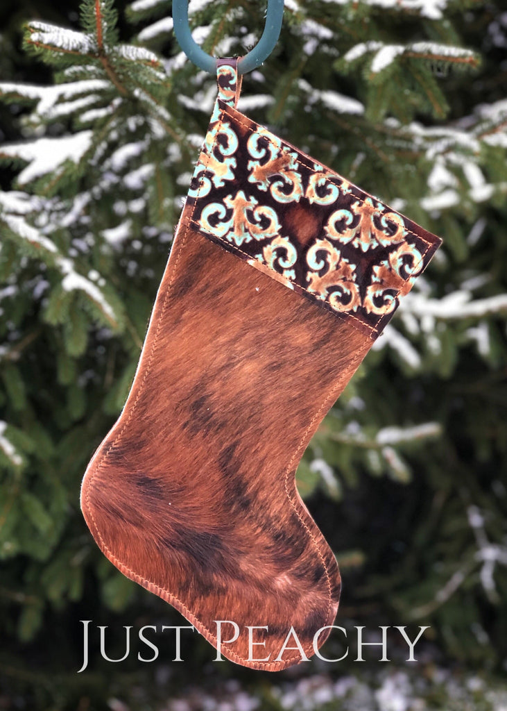 Cowhide And Leather Christmas Stocking Chocolate/turquoise King