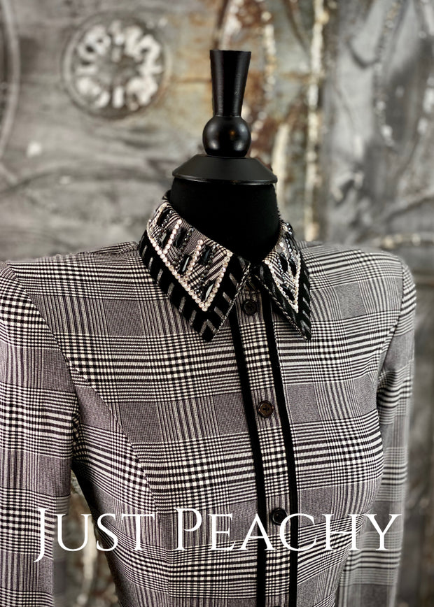 Black and White Plaid Day Shirt ~ Ladies XS