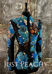 Turquoise, Blue, Copper and Black Showmanship Jacket by Trudy ~ Ladies Small