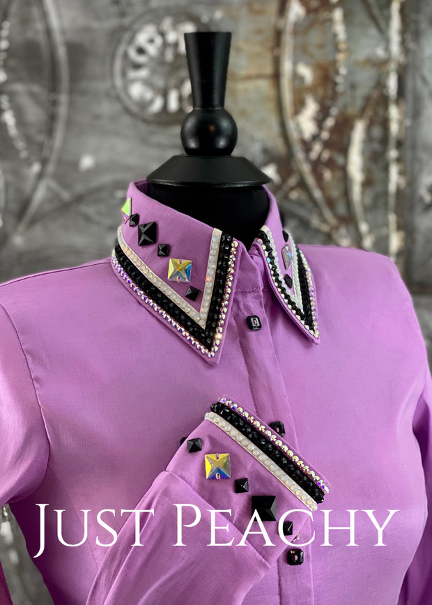 The Cosmopolitan Dress Shirt in Lilac with Black ~ Ladies Small