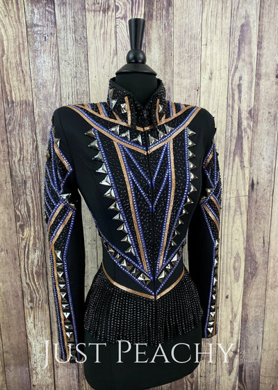 Rose Gold Midnight Blue And Black Riding Jacket With Fringe By Jackson Rae Designs ~ Ladies Xs