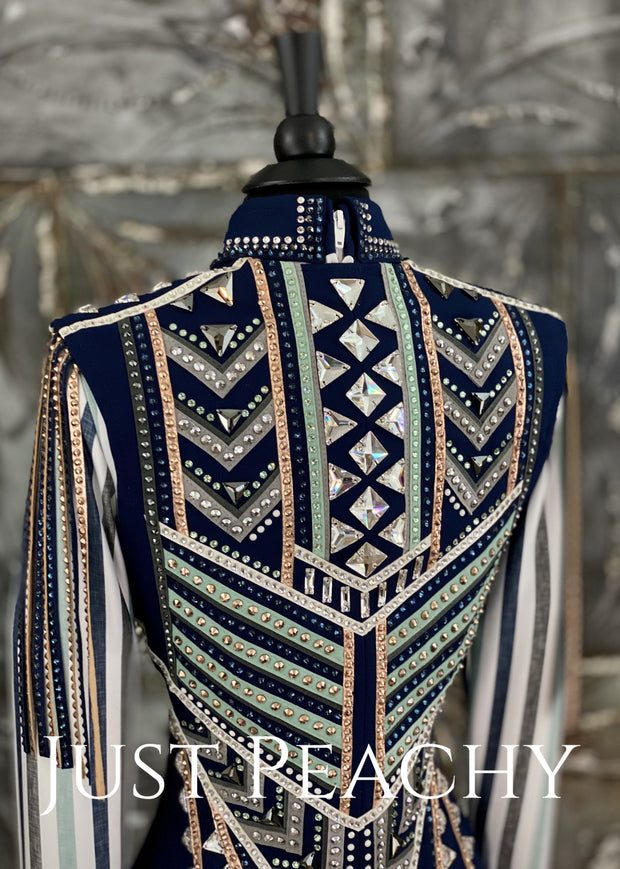 Navy White Mint And Rose Gold Vest Set By Apart Show Apparel ~ Ladies Xs Western Horse