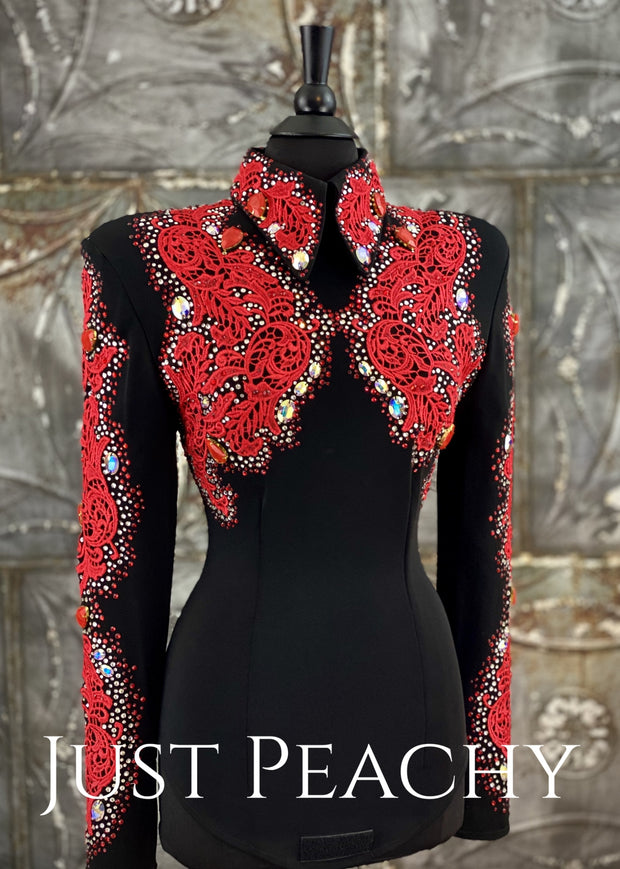 Lipstick Red and Black Horsemanship Shirt by Deb Moyer ~ Just Peachy Show Clothing