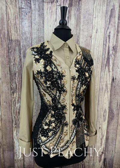 Camel And Black Vest By Showtime ~ Ladies Medium Western Horse Show
