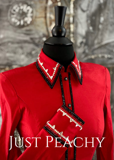 Red, Black and Crystal Day Shirt by On Pattern Designs ~ Ladies XS