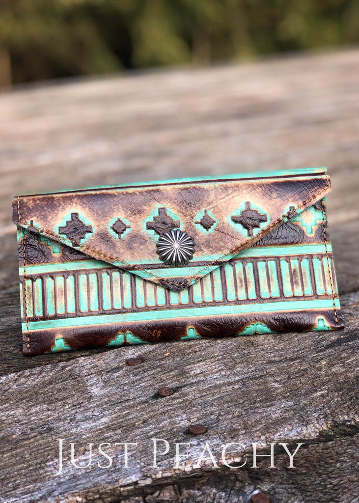 The Hayden Leather Wallet In Worn Turquoise Aztec Western