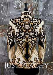Cream, Gold and Black Hand-Beaded Jacket by Showtime ~ Ladies Medium/Large