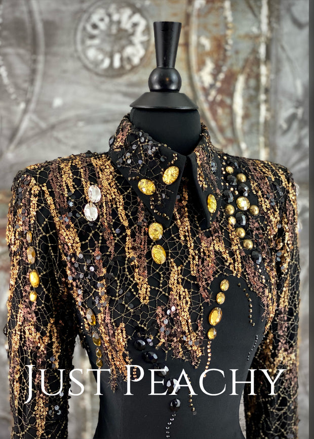Black and Gold Horsemanship Shirt by On Pattern Designs ~ Ladies Small