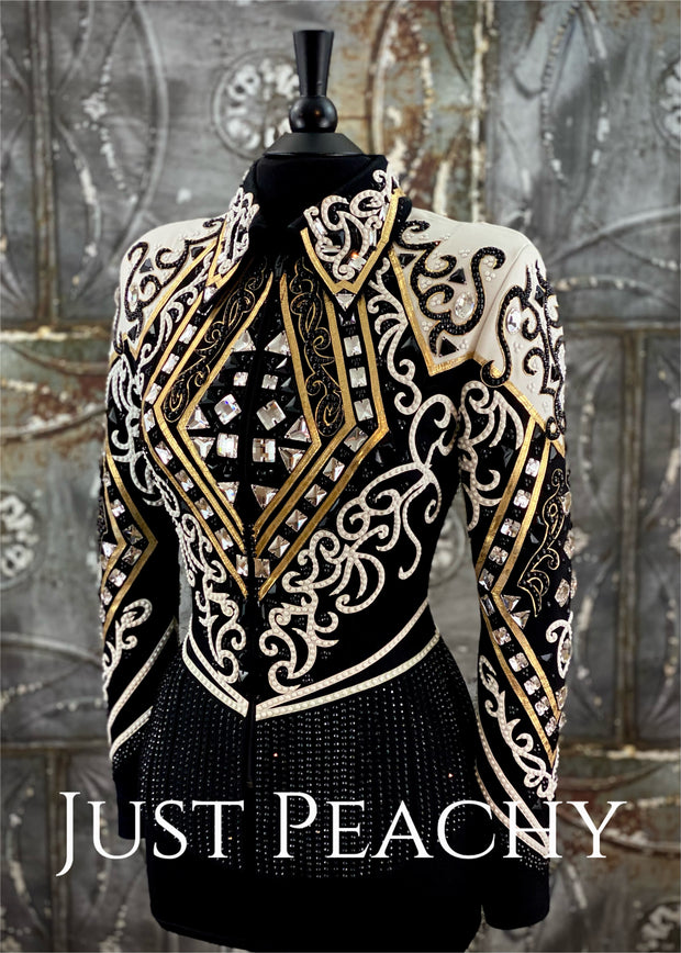 White, Black and Gold Riding Jacket with Fringe by DarDar8 Designs ~ Ladies Medium