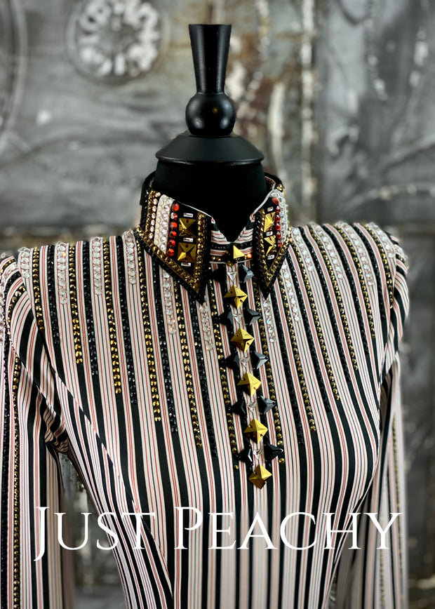 Deep Copper, Gold White and Black Bolero Vest and Day Shirt Set by Sonder Avenue ~ Ladies XS/Small