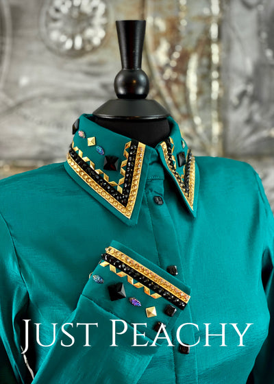 The Cosmopolitan Dress Shirt in Teal with Gold ~ Ladies Medium