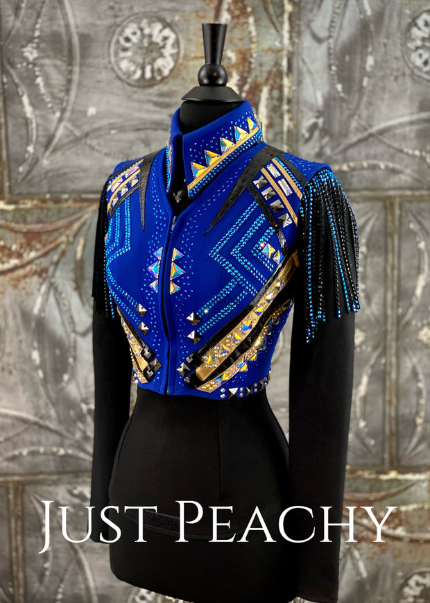 Royal Blue, Black and Gold Bolero Vest and Shirt Set by Deb Moyer ~ Ladies XS