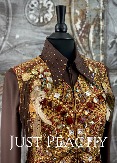 Chocolate, Rust and Gold Vest and Shirt Set