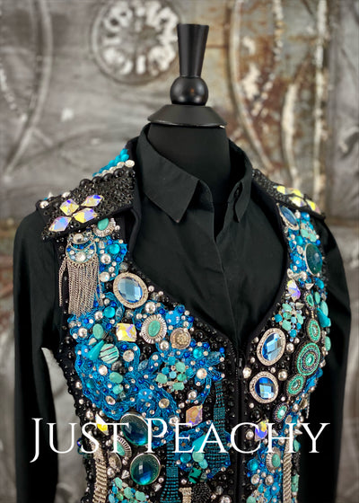 Blue, Turquoise and Black Vest Set by Trudy Black Label ~ Ladies Small