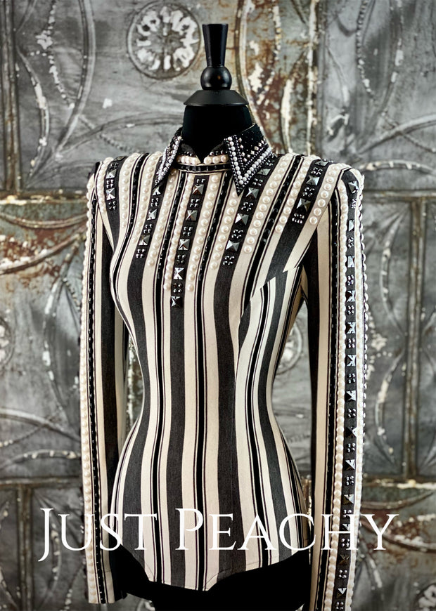 Black, Charcoal and White Striped Horsemanship Shirt by Lindsey James ~ Ladies Small Tall