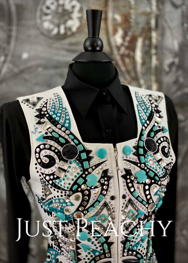 White, Turquoise and Black Vest by Dry Creek Designs ~ Ladies Small