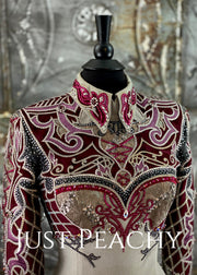 Slate Grey, Cranberry and Silver Horsemanship Outfit with Chaps by Paula's Place ~ Ladies XS