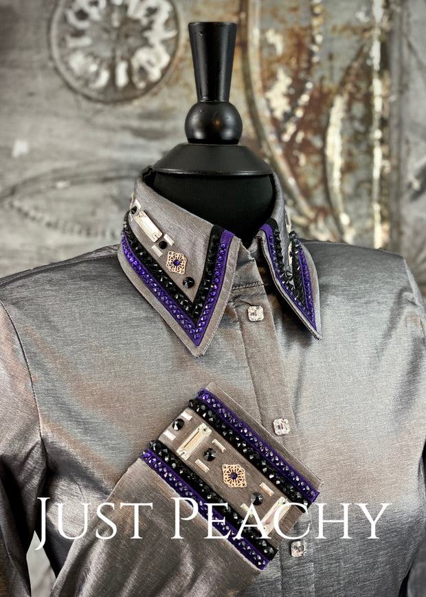 The Cosmopolitan Dress Shirt in Silver with Purple and Black ~ Ladies Small
