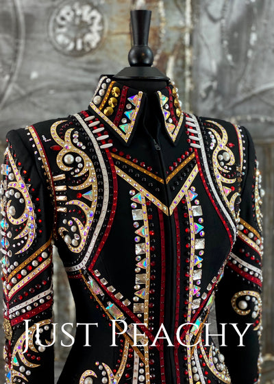 Red, Gold and Black Jacket by Dry Creek Designs ~ Ladies Small/Medium