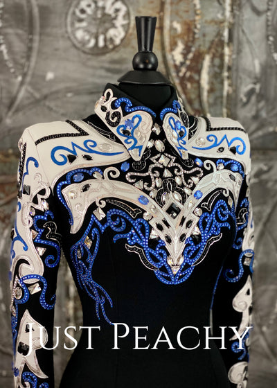 Royal Blue, Silver, White and Black Horsemanship Shirt by DarDar8 Designs ~ Ladies Medium
