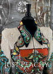 White and Multi-color Jacket by Nancy Vincent with Golden West Pad ~ Ladies Small