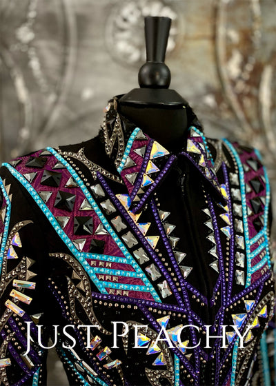 Purple, Turquoise, Gunmetal and Black Jacket by Silver Lining ~ Ladies Small