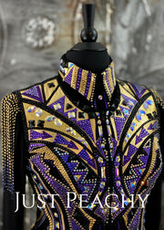Purple, Gold and Black Vest and Day Shirt Set by DarDar8 Designs ~ Ladies Large