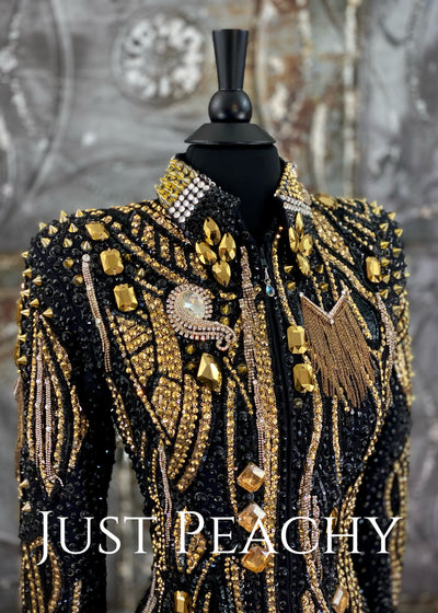Gold and Black Showmanship/All-Day Jacket by Trudy Black Label ~ Ladies XS
