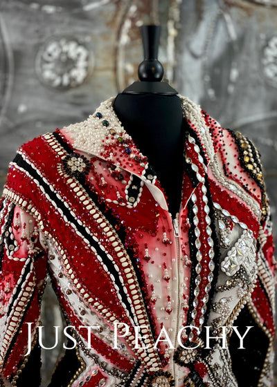 Red, Black, White and Gold Beaded Jacket by Showtime ~ Ladies Large/XL