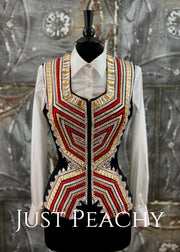 Red, White, Gold and Black Vest by Chrissy Canady ~ Ladies Medium/Large