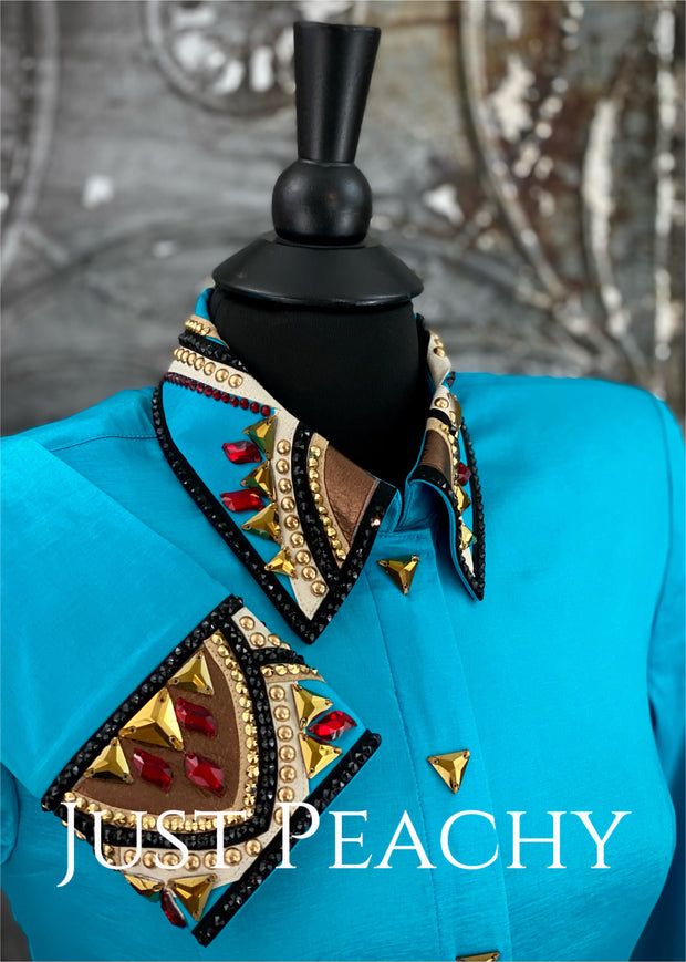 Turquoise, Red, Gold and Black Day Shirt by On Pattern Designs ~ Ladies Medium