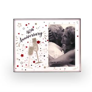 Frame 40th Anniversary Glass Glitter 4x6