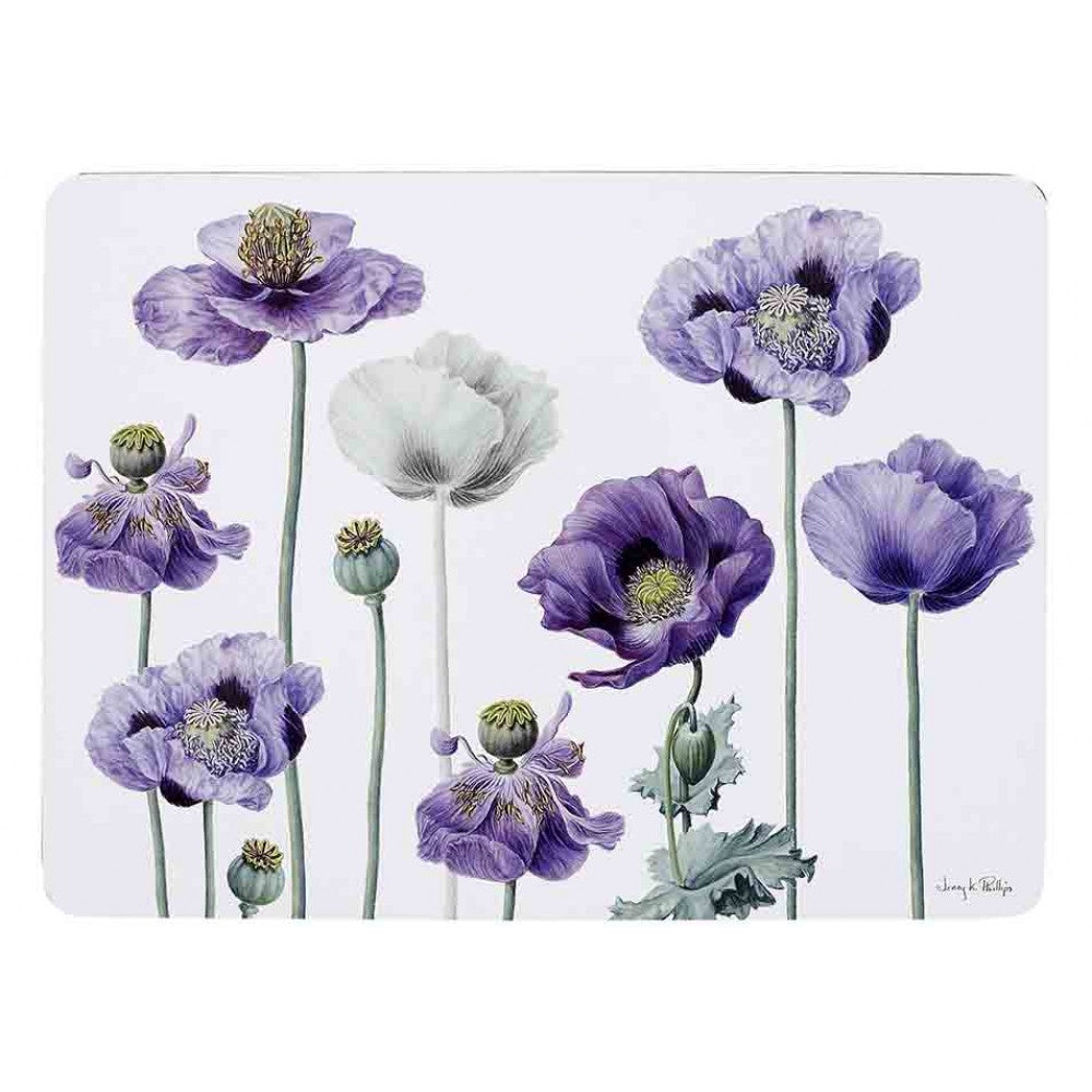Placemats Purple Poppies S/4
