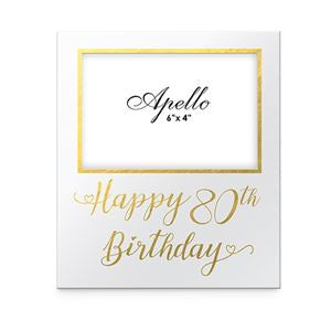 Frame 80th Birthday White/Gold