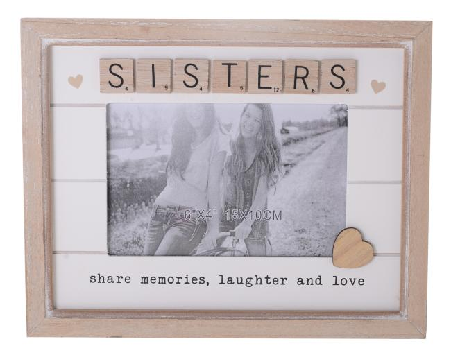 Frame Scrabble Heart Sisters 6x4