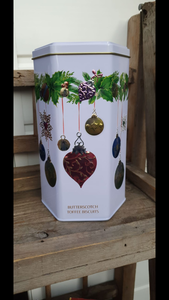 Christmas Gift Food - Farmhouse Hexagonal Bauble Tin Butterscotch Toffee Biscuits