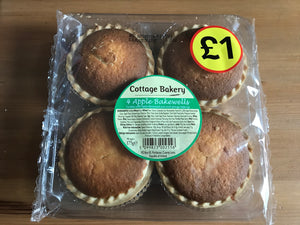 Cottage Bakery 4 Apple Bakewells / Cakes 175g