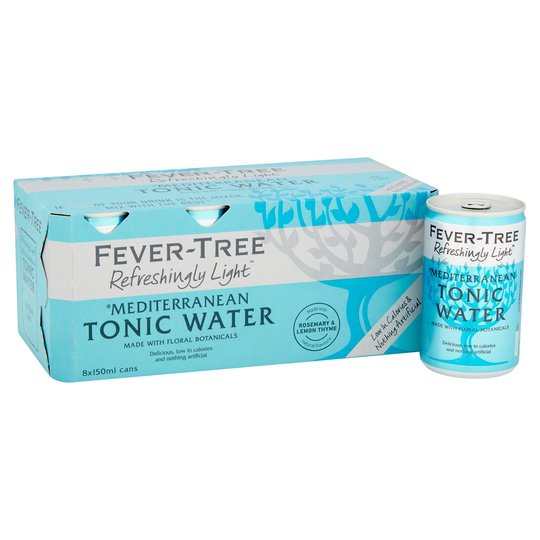 Fever-Tree Refreshingly Light Mediterraneanan Tonic Water Cans - 8 x 150ml