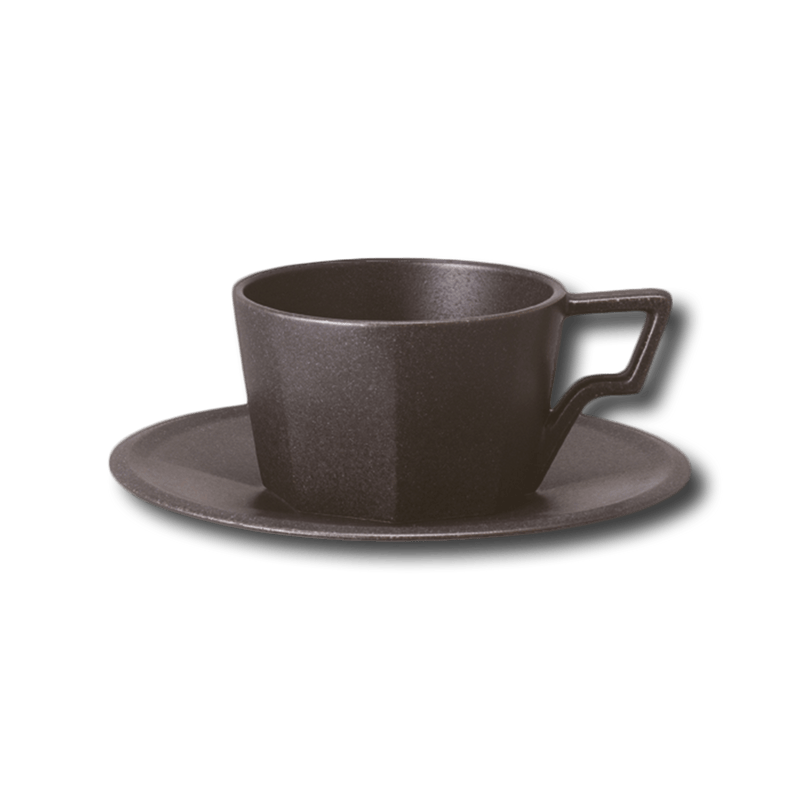 KINTO OCT CUP AND SAUCER BLACK