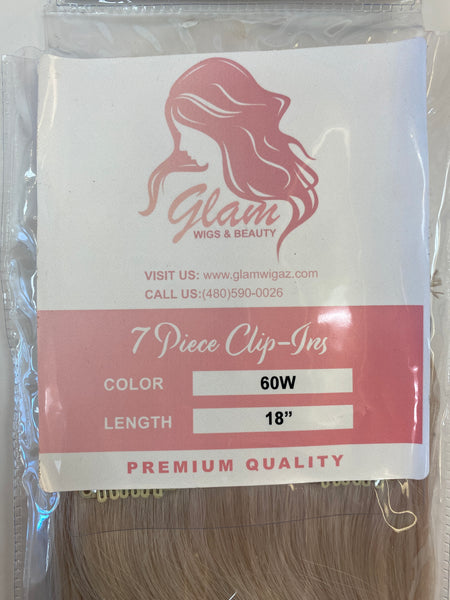 Glam Indian 7 Piece Clip In Straight 18""