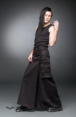 Queen of Darkness - Long Skirt with rings and side pockets