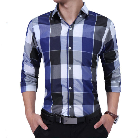 Men's Business Turn Down Collar Button Plaid Long Sleeve Casual Shirt