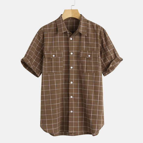 Mens Vintage Fashion Chest Pocket Design Checkered Short Sleeve Cotton Plaid Shirt
