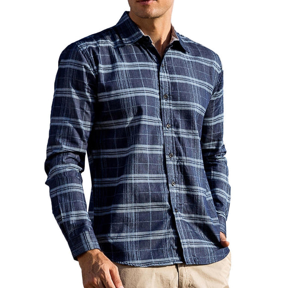 Mens Fashion Plaid Printing Autumn Long Sleeve Cotton Shirt