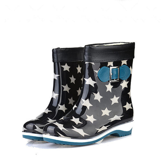 Casual Keep Warm Fashion Flat Comfortable Non-Slip Slip-On Rain Boots